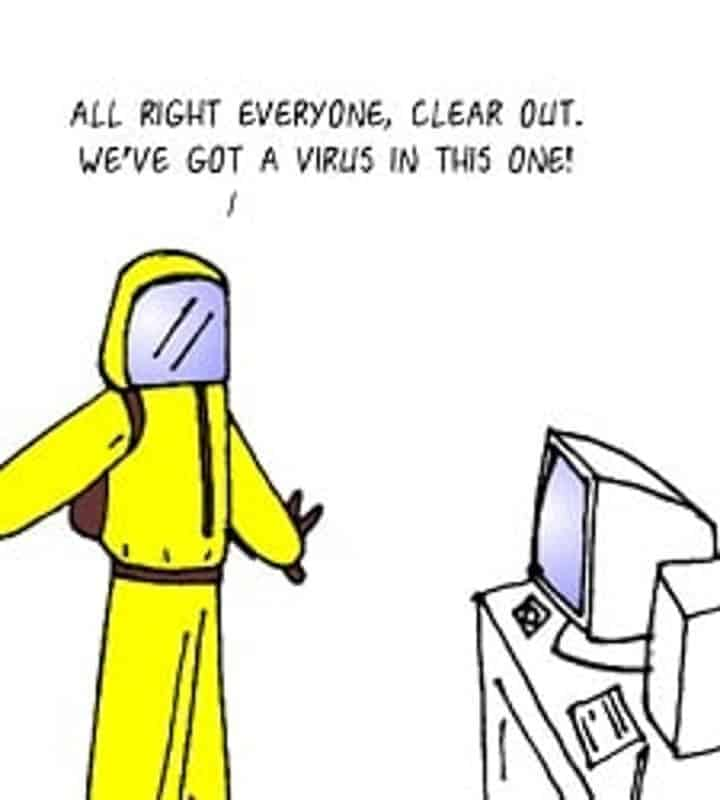 Funny computer cartoon about viruses