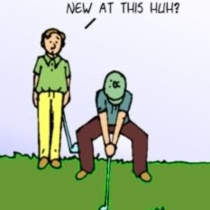 Funny Cartoon Meme-  Squat Golfing