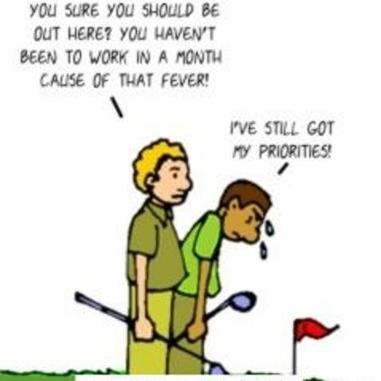 Funny Golf Cartoon - golf vs work