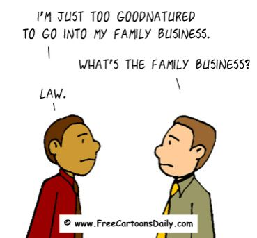 FUNNY OPTIMISM CARTOON KIDS GROWING UP  - LAW AS A JOB