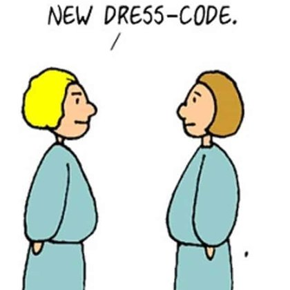 Funny work cartoon about dress codes