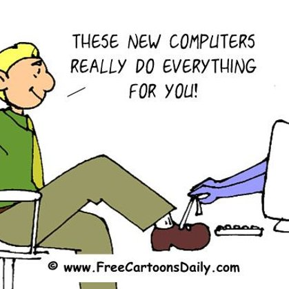 Funny computer cartoon and shoes
