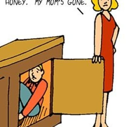 Funny Family Cartoons- Hidding from Wife's mom