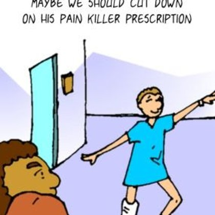 Funny Doctor Cartoon-Too much Pain Killer