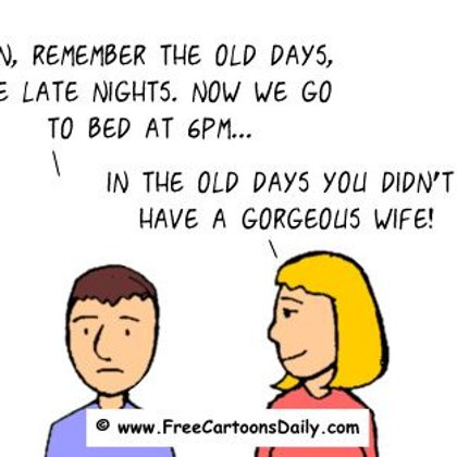 Funny Optimism Cartoon- Wife Jokes