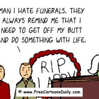"Funny Optimism Cartoon-  ""Dead"" Motivation"