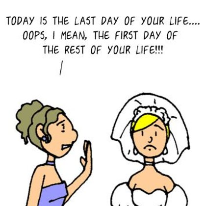 Funny Optimism cartoon - Marriage Feels Like
