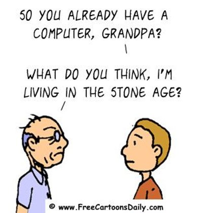 Funny Computer Cartoon- Old Man jokes About computer