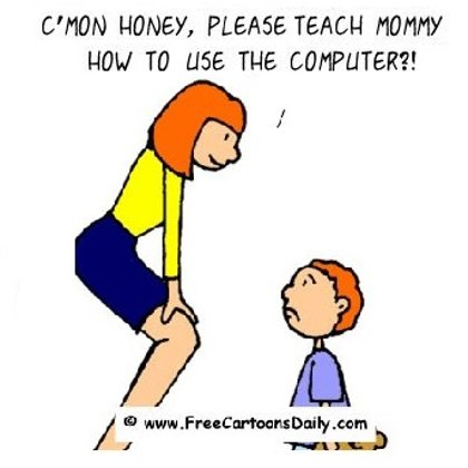 Funny Computer Cartoon- Kid Teaches Mom how to use computer