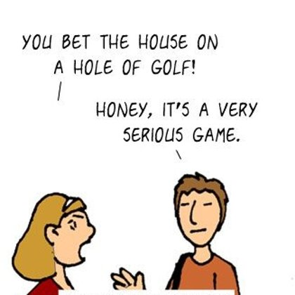 Funny Golf Cartoon- A Serious Bet