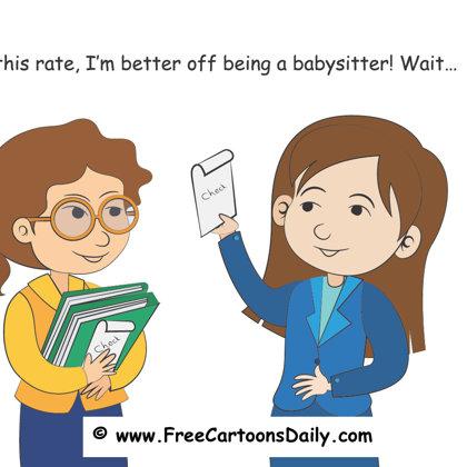 Teacher cartoons and babysitting