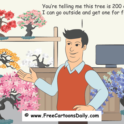gardening and tree cartoon