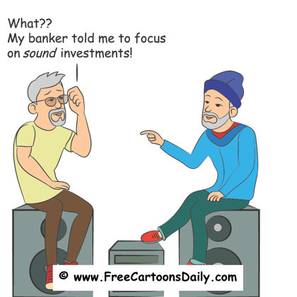 FUnny bank / sound illustration with two men