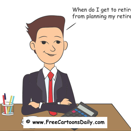 Funny retirement illustratin cartoon