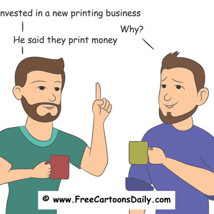 Funny money cartoon  hand drawn